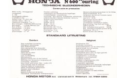 Honda N600 touring specificaties