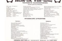 Honda N600 touring specificaties
